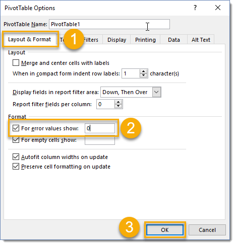 PivotTable-Options-For-error-values-show 101 Advanced Pivot Table Tips And Tricks You Need To Know