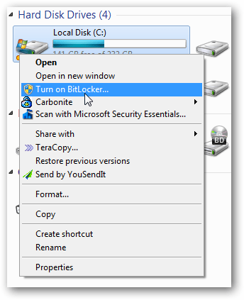 How to enable Bitlocker in all operating system