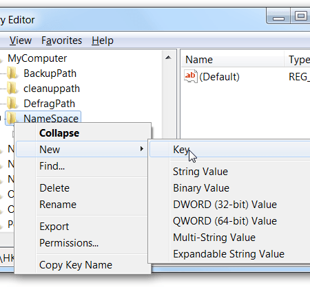 registry editor sur windows 7