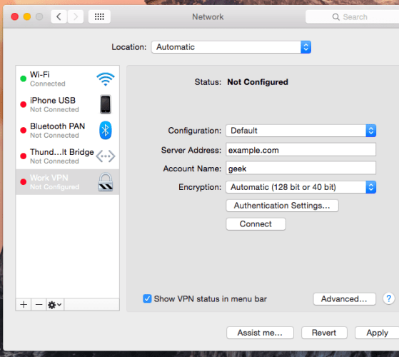 VPN not configured completely in a Mac's network settings menu
