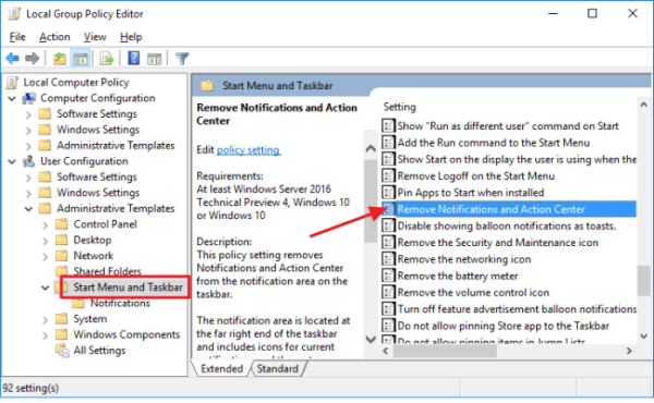 How to Disable the Action Center in Windows 10