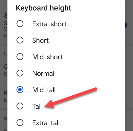 Choose a height size.