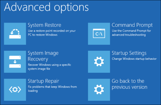 Image result for windows 10 advanced options command prompt