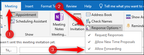 In The Outlook Web App Make Sure You Have A Meeting Request Open And At Least One Attendee Added Click Attendees Cog Then Allow