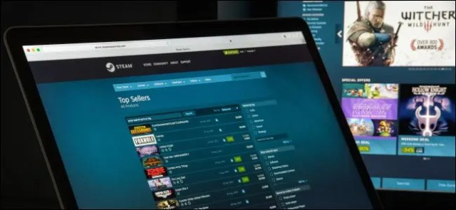Steam Store on a laptop and desktop.