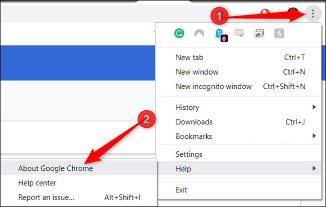 Click More, point to Help, then click on About Google Chrome