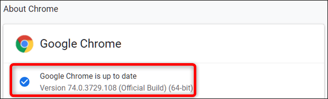 Chrome is now up to date with the most recent version
