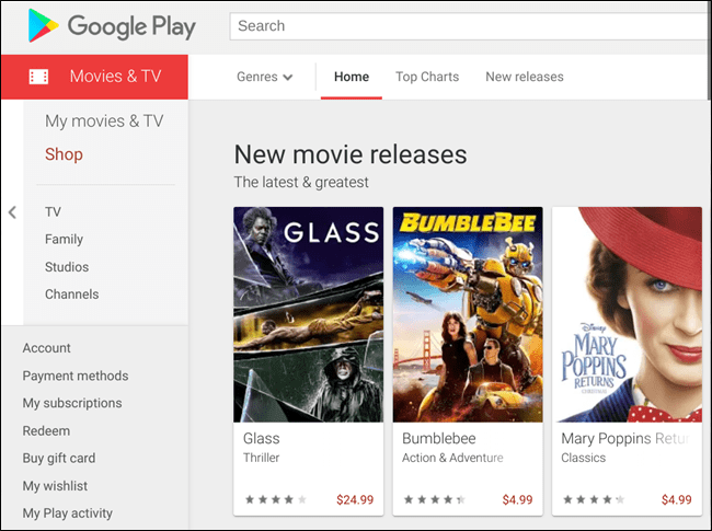 A familiar splash page on the Google Play Movies store