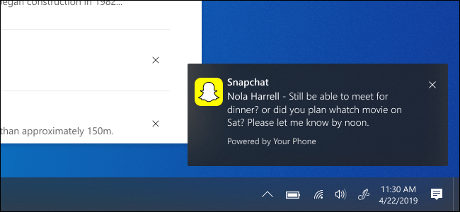 Windows 10 showing Snapchat notification from Android