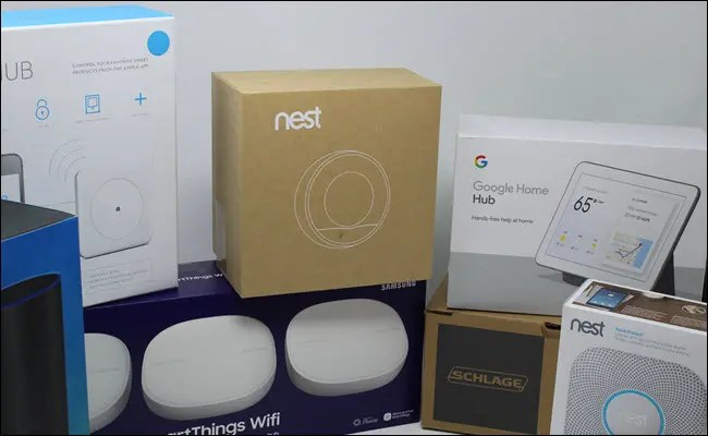 Boxes for Wink hub, nest thromostat and smoke detctor, schlage smart lock, Echo and Google Home hub