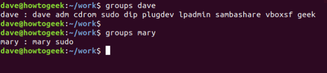 groups command in a terminal window