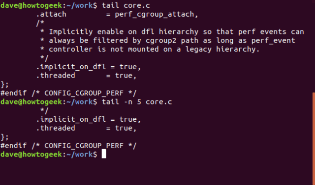 tail command in a terminal window