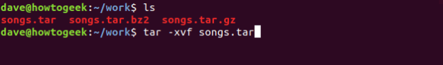 ls and tar -xvf commands in a terminal window