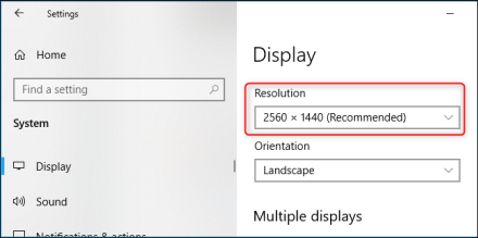 The resolution of your PC's display in Windows 10's Settings app