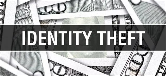 "The words ""Identity Theft"" over $100 bills."