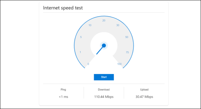Internet speed test showing a ping greater than 1ms, a download speed of 110.44 Mbps, and an upload speed of 30.47 Mbps.