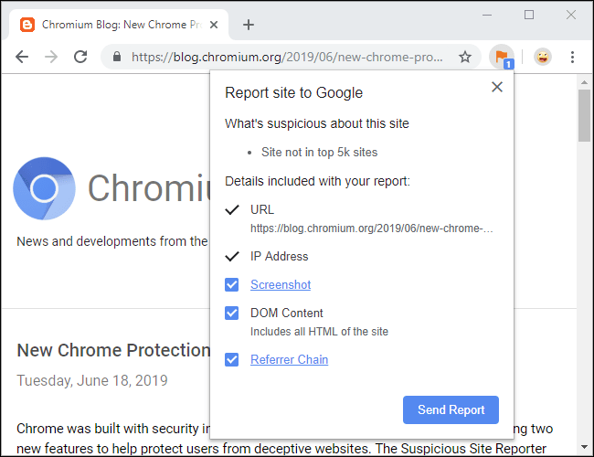 Chrome Suspicious Site Reporter extension