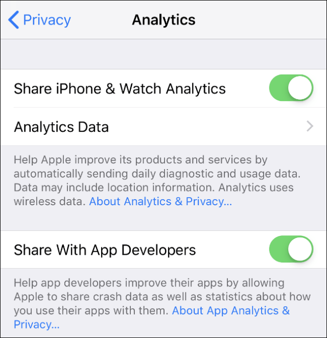 """Tap the """"Share iPhone & Watch Analytics"""" and """"Share With App Developers"""" toggles to send analytics to Apple and other app developers."""
