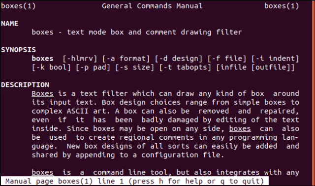 """boxes man"" page in a terminal window."