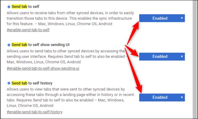 Enabling the Send tab to self flags in Google Chrome