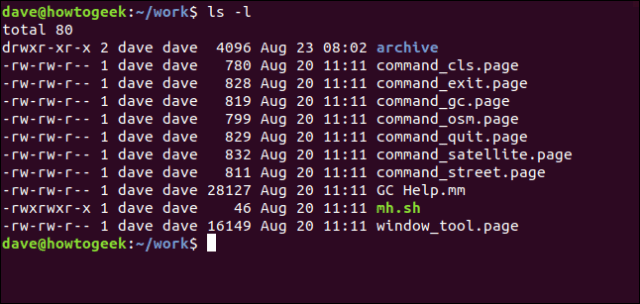 output from ls -l in a terminal window