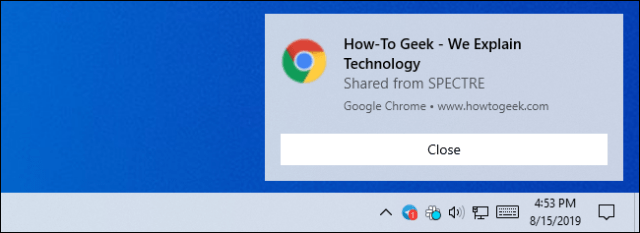 Notification for a shared tab in Google Chrome on Windows 10
