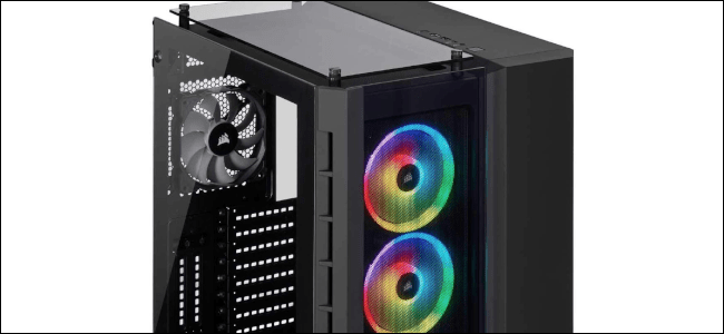 A Corsair E-ATX case with RGB LED fans and a black chassis.