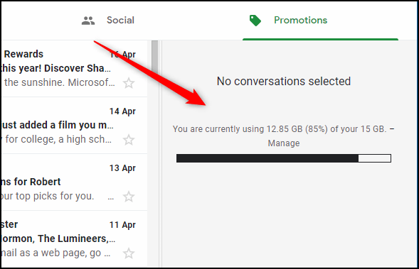 """The Gmail """"Preview Pane"""" in vertical mode."""