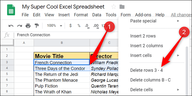 If you want to remove more than one row or column at a time, highlight as many cells as you want to remove, and then right-click on the selection to delete them.