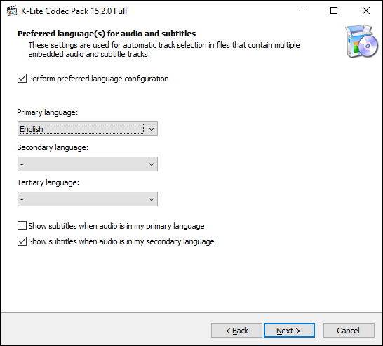 Select your language options in the K-Lite installer, then click Next