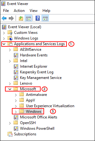 In Event Viewer, click Applications and Services Logs > Microsoft > Windows.