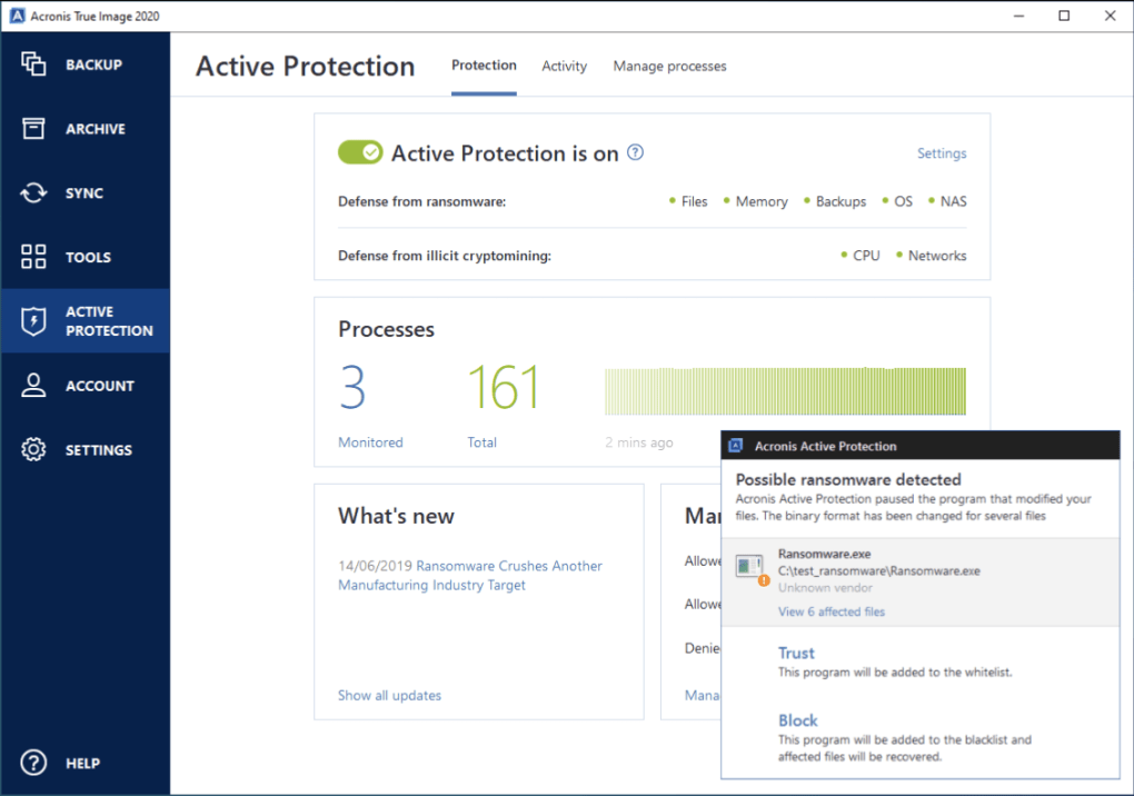 """Menu """"Active Protection"""" trong phần mềm ransomware Acronis True Image."""