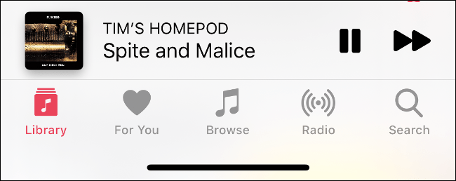 """The """"Now Playing"""" section in the Music app."""