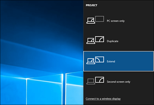 Choose Project Options in Windows 10