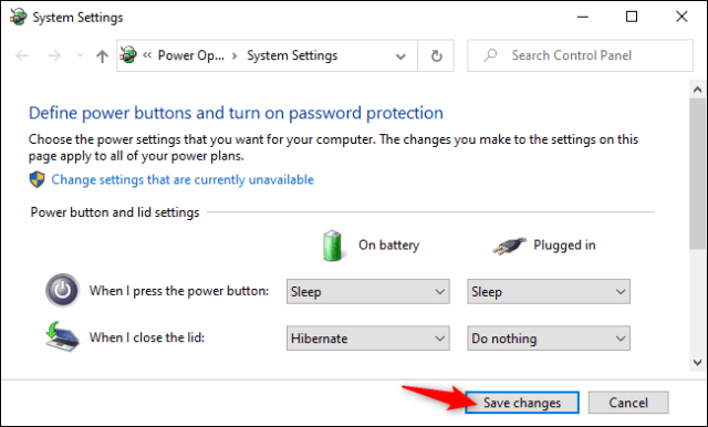 Saving laptop lid-closing options in Windows 10's Control Panel.