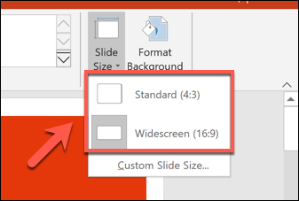 Selecting a slide size in PowerPoint