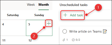 The options to create a new task in the Schedule view.
