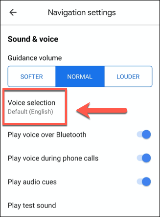 Tap Voice Selection to access Google Maps voice selection options