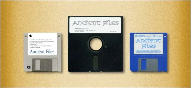 One 5.25-inch and two 3.5-inch floppy disks.