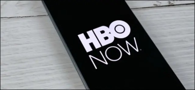 The HBO NOW logo on a smartphone.