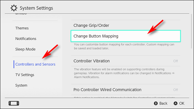 Select Change Button Mapping on Nintendo Switch