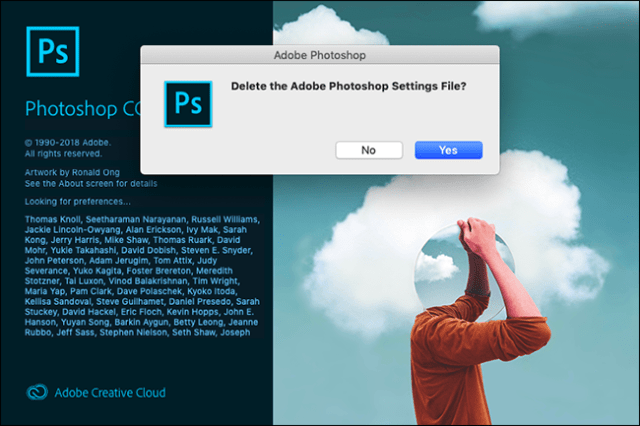 """The """"Delete the Adobe Photoshop Settings File?"""" prompt in Photoshop."""