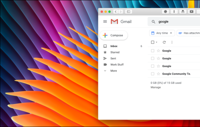 Cleaned up Gmail sidebar without Google Hangouts or Google Meet section