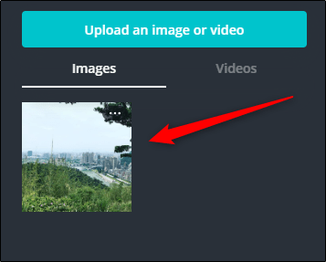 """Click your uploaded photo in the """"Images"""" section."""