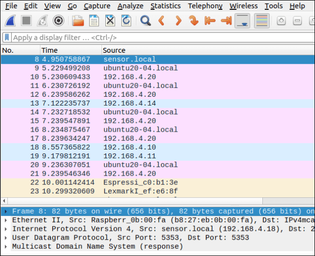 Wireshark trace with device names resolved.