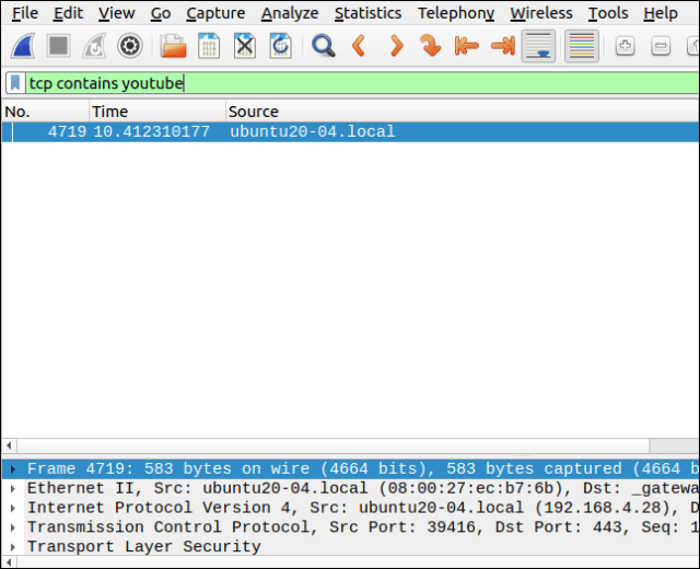 Wireshark with a filter tcp contains youtube.
