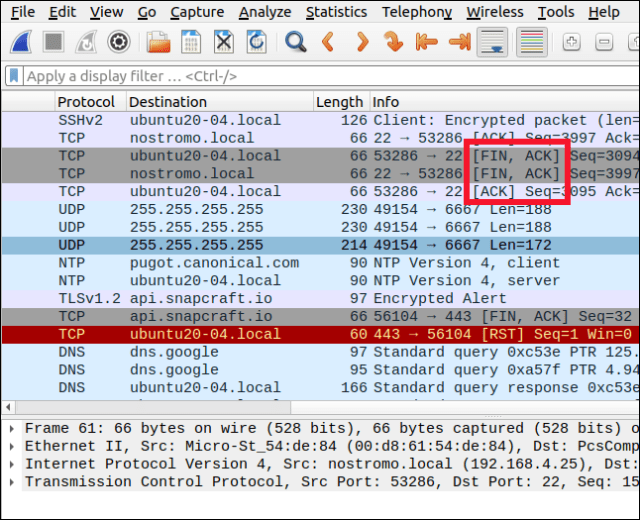 Wireshark showing the four-way handshake packets.