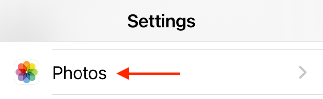 Select Photos section from Settings