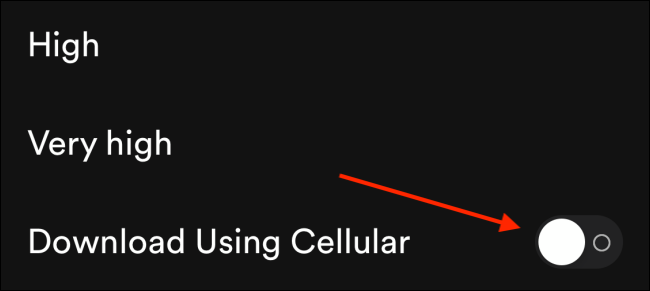 Tap the toggle next to Download Using Cellular
