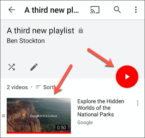 Tap the play button or a video thumbnail to begin playing that video in the YouTube app